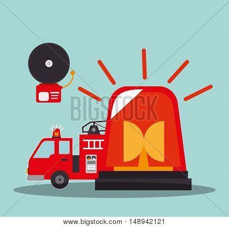 fire truck emergency vehicle with alarm and siren rescue alert. vector illustration