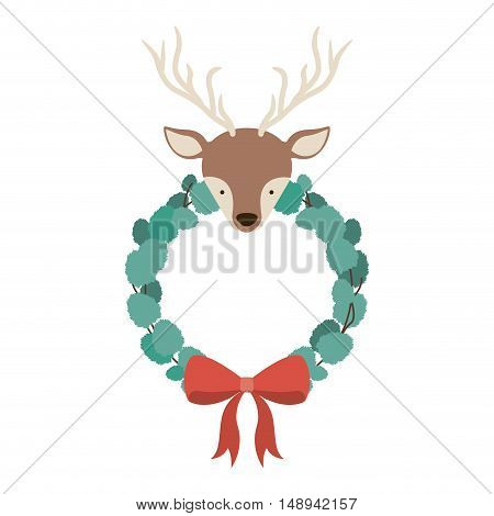 Reindeer and crown icon. Merry Christmas season and decoration theme. Isolated design. Vector illustration