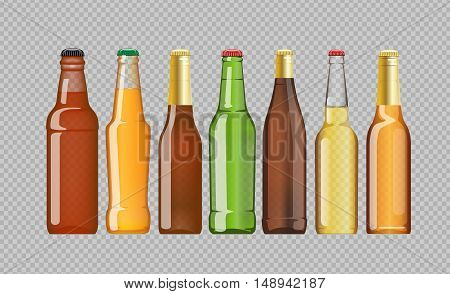 Digital vector beer mockup set, red, orange, brown, green bottle, realistic flat style, isolated and ready for your design and logo