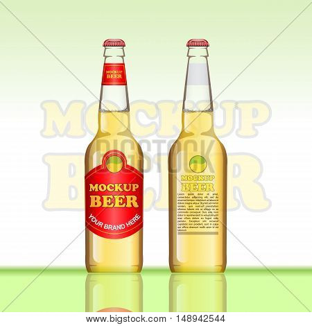 Digital vector brown beer mockup, red and golden bottle, realistic flat style, isolated and ready for your design and logo