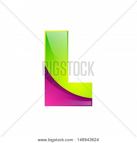 L letter green and pink logo design template elements an icon for application company.
