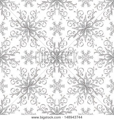 Christmas pattern with vintage silver gradient snowflakes. Without background vector