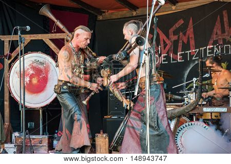 Cradem Aventure musicians stylized as the Goths performing on the Heidelberg folk festival and playing bagpipes rock - September 25 2016, Hedelberg, Germany