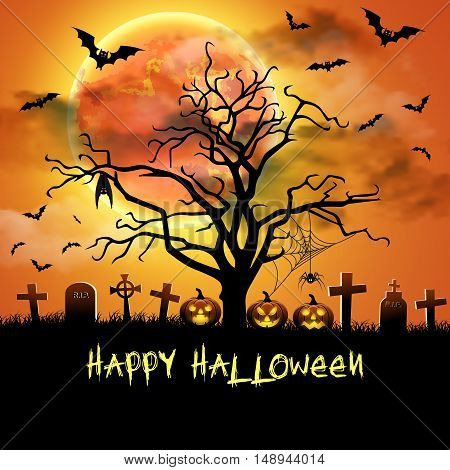 Spooky card for Halloween. Orange background with full moon, tombstones, spider and bats. Halloween Party with pumpkins. Vector Illustration.