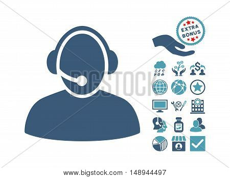 Call Center icon with bonus symbols. Vector illustration style is flat iconic bicolor symbols cyan and blue colors white background.