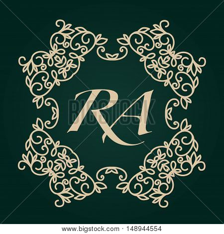 Luxury Logo template. Flourishes calligraphic elegant golden ornament monogram. Business sign or identity. Vector illustration