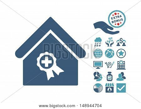 Certified Clinic Building pictograph with bonus pictograph collection. Vector illustration style is flat iconic bicolor symbols cyan and blue colors white background.