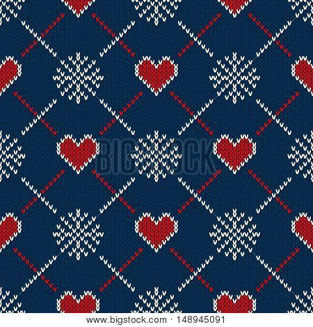 Fair Isle Style Knitted Sweater Design with Hearts. Seamless Knitting Pattern. Vector Knitted Texture