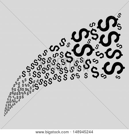 Dollar Fountain Stream vector illustration. Style is black flat dollar symbols light gray background.