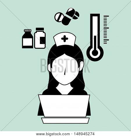 avatar woman nurse medical assitance with medicine icons set. vector illustration
