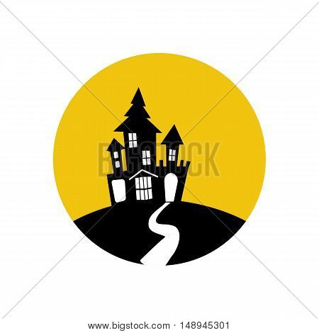 House on the hill illustration on the yellow background. Vector illustration
