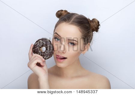 Portrait Of A Young Woman With Funny Hairstyle And Bare Shoulders Act The Ape Against White Studio B