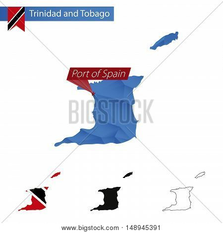 Trinidad And Tobago Blue Low Poly Map With Capital Port Of Spain.
