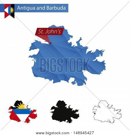 Antigua And Barbuda Blue Low Poly Map With Capital St. John's.
