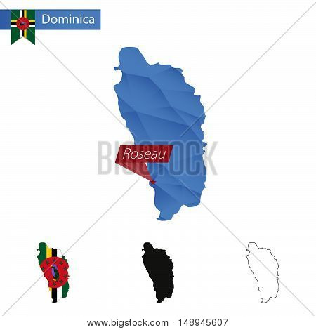 Dominica Blue Low Poly Map With Capital Roseau.