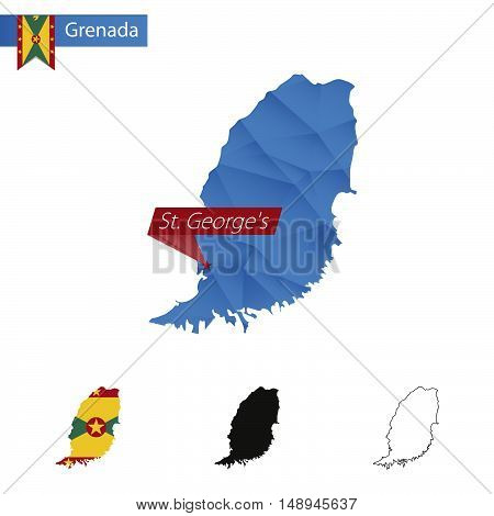 Grenada Blue Low Poly Map With Capital St. George's.