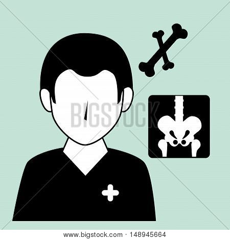 avatar medical orthopedist doctor man and bones xrays. vector illustration