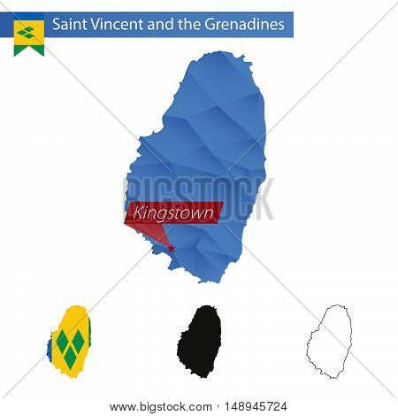 Saint Vincent And The Grenadines Blue Low Poly Map With Capital Kingstown.