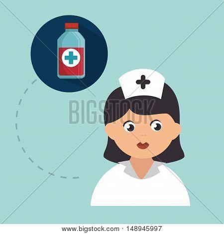 avatar woman nurse medical assitance with medicine bottle icon. vector illustration