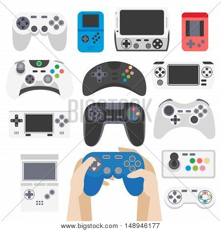Video game entertaining icons set. Play and joystick, controller and computer, console and gamepad. Flat style. Vector illustration isolated on white background.