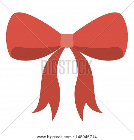 Red bowtie ribbon icon. decoration present and gift theme. Isolated design. Vector illustration