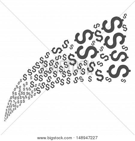 Dollar Fountain Stream vector illustration. Style is gray flat dollar symbols white background.