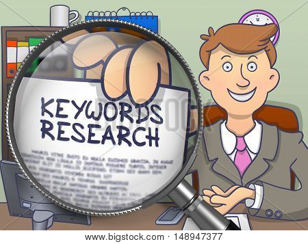 Keywords Research. Young Businessman in Office Holds Out a Text on Paper through Lens. Multicolor Doodle Style Illustration.
