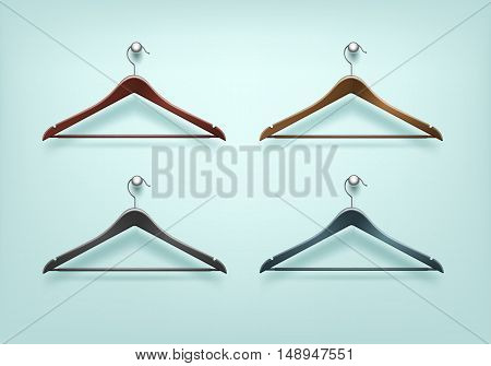 Vector Set of Clothes Coat Wooden Plastic Black Brown Hangers Close Up Isolated on Background