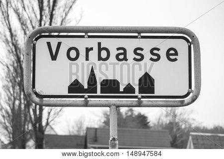 Vorbasse City Sign In Black And White