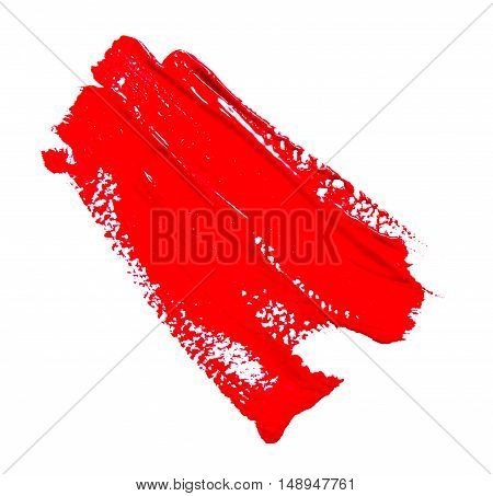 Red strokes of the paint brush isolated on a white
