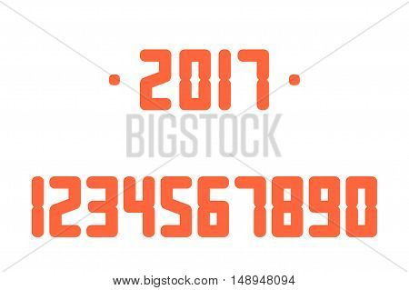 Red Numbers. Vector illustration. Isolated on a white background.