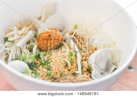 Chinese noodle or noodle with fish ball dish