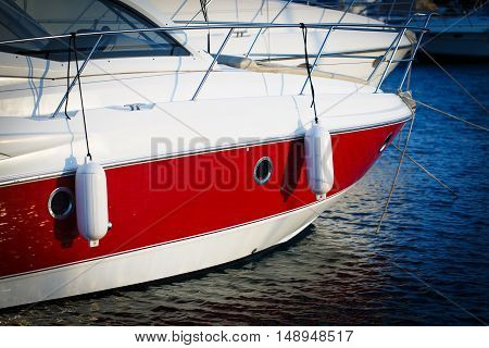 Bow of the red and white Ship