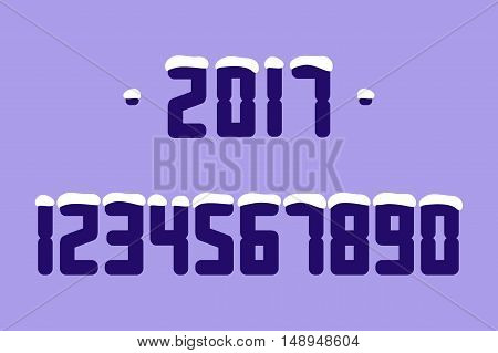 Snow Numbers. Vector illustration. Isolated on a white background.