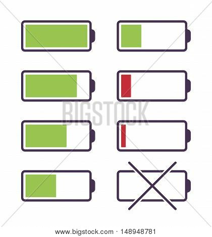 Set of battery charge icons. Cartoon vector flat-style illustration