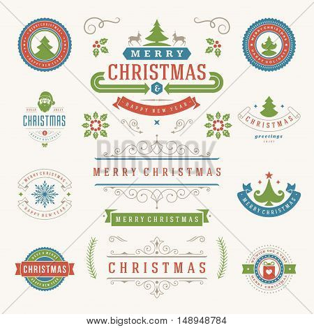 Christmas Labels and Badges Vector Design Elements Set. Merry Christmas and Holidays Wishes Retro Typography Greeting Cards, Posters and Flyers, Decoration objects and symbols, vintage ornaments.