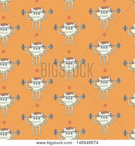 Seamless vector illustration with cute little monster training with barbell on orange background with dots. Funny pattern good for gym kids sport. Hand drawn monster has three legs.