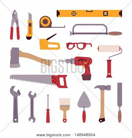 Set of construction tools isolated against white background. Cartoon vector flat-style illustration