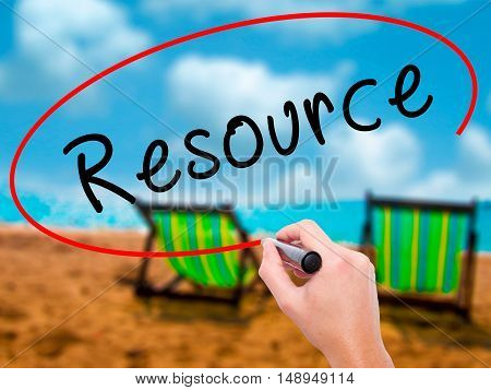 Man Hand Writing Resource With Black Marker On Visual Screen
