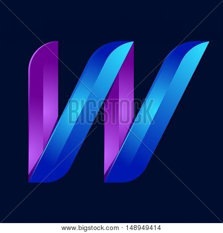 W letter volume blue and purple color logo design template elements.