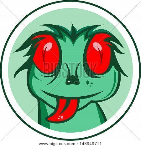 logo illustration cartoon green gecko on circle