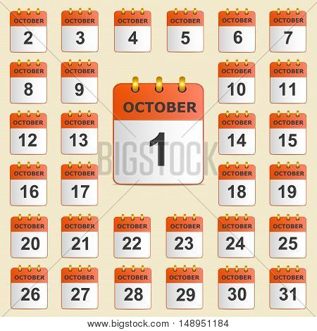 Full universal icon set wall-calendar in red. The month of October. The template is perfect for all your events, holidays, as a reminder etc. Vector illustration. Square location.