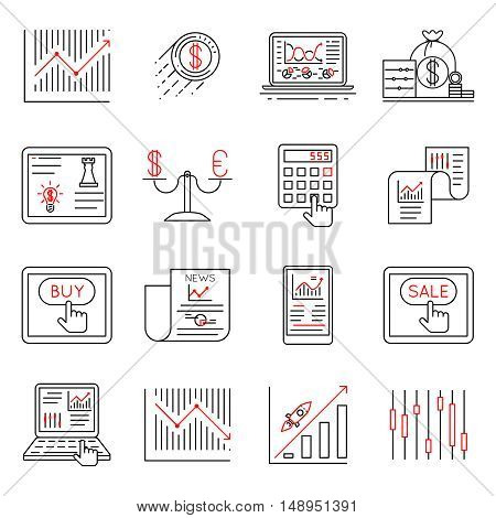 Finance and stock line icons, investment strategy linear signs vector. Finance chart and graph, illustration finance banking icons on linear style