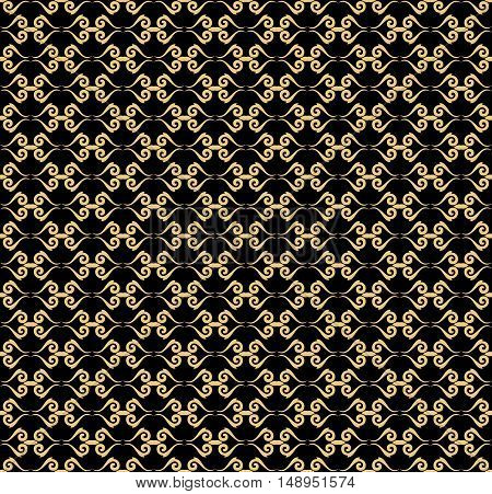 Oriental classic pattern. Seamless abstract background with repeating elements. Black and golden pattern