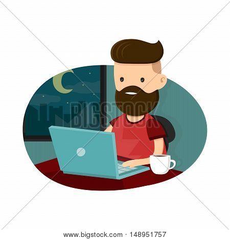 Young men hipster character sitting at a laptop and working overtime late night. Freelance work. Flat vector illustration. Isolated on white background