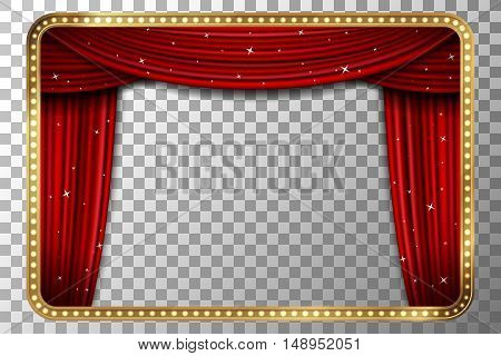 Frame with curtain. Retro golden frame with red curtain. Vector illustration