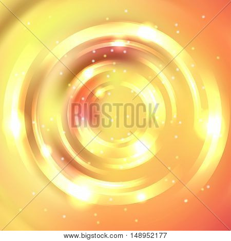Abstract Circle Background, Vector Design. Vector Infinite Round Tunnel Of Shining Flares. Yellow, O