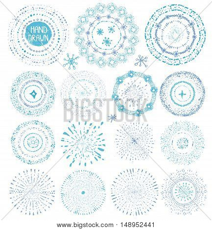Hand drawn pattern point textures .Frame, wreath, burst .Doodle decor, artistic stroke brushes, drop and snowflakes.Winter Christmas, baby design, New year, holiday design template.Sketched Vector
