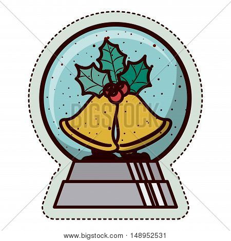 Bell and sphere icon. Merry Christmas season and decoration theme. Isolated design. Vector illustration