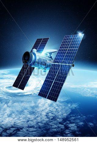 A modern satellite orbiting planet Earth. 3D illustration.